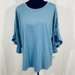 NWT Style & Co Blue Detailed Sleeve Top